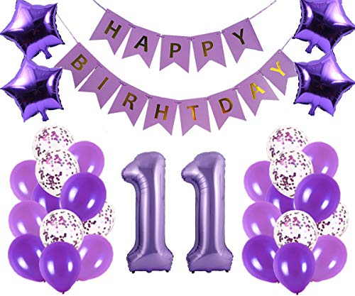 11th Birthday Party Decorations Kit Happy Birthday Banner with Number 11 Birthday Balloons for Birthday Party Supplies 11th Purple Birthday Party Pack