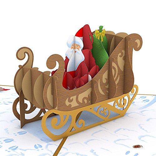 Lovepop NIght Before Christmas Santa Sleigh 3D Pop-Up Greeting Card