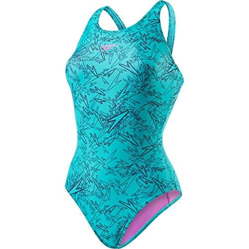 Speedo Boom Allover, Bañador para Mujer, multicolor (Azul Marino/Jade (Orchid Liner And Branding)),ES: 56 (Talla del manufacturier: 30)