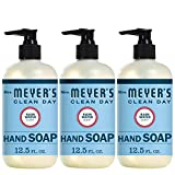 Mrs. Meyer's Clean Day Liquid Hand Soap, Cruelty Free and Biodegradable Formula, Rain Water Scent, 12.5 Oz- Pack of 3