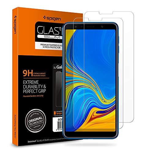 Spigen, 2 Stück, Samsung Galaxy A7 2018 Panzerglas, Easy Install Kit, Hüllenfre&lich, 9H gehärtetes Glas, Antikratz, Samsung Galaxy A7 2018 Schutzfolie (608GL25580)
