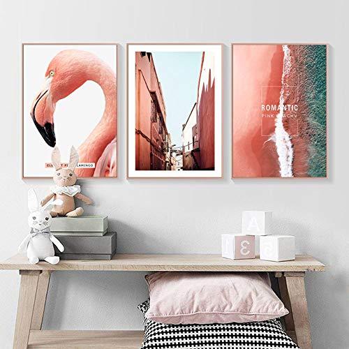 JRLDMD Pink Flamingo Building Wall Art Canvas Painting Citas Carteles nórdicos e Impresiones Imágenes Decorativas para la decoración de la Pared de la Sala de Estar 50x70cmx3 Sin Marco