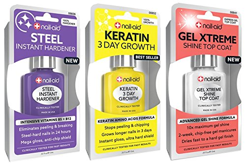 NAIL-AID Hardener + Keratin Growth + Gel Top Coat, Clear Set
