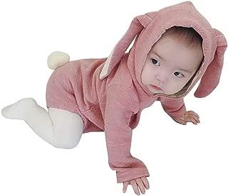 AMIGGOO 春物 韓国 子供服 うさぎさん ロンパース 新生児 イースター スウェット パーカー トレーナー 綿 肌着 キッズつなぎ 長袖 カバーオール 女の子 フード付き 出産祝い 百日記念 グレー ピンク 66 80 90 100cm