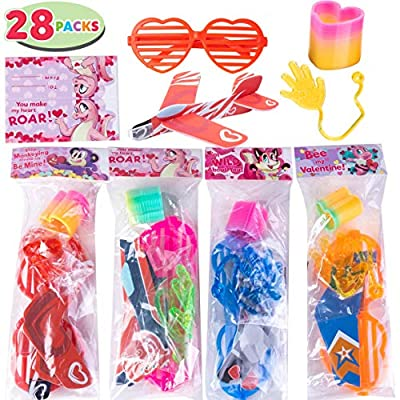 JOYIN 28 Pack Kids Valentines Day Gift Assorted Novelty Toy Set for Valentine's Classroom Exchange Prizes, Valentine Party Favors