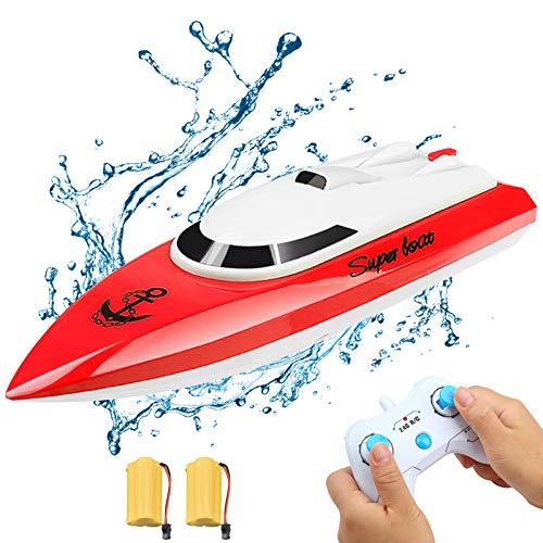 Ferngesteuertes Boot, RC Boot Kinder Mini Fernbedienungs Boot 2,4 GHz 20 km / h für Pools und Seen (Rot)