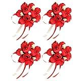 Amosfun - 4 spille da polso da polso per matrimonio, matrimonio, corsetto con fiore a mano, per balli di fine anno, matrimonio, Natale, feste, forniture