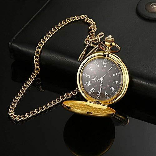 SHKUU Reloj Bolsillo clásico Cuarzo Plata/Bronce/Negro/Oro Joyería Lisa Collar Colgante Cadena aleación Regalo Navidad para Mujer Regalo Navidad