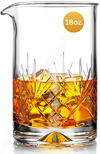MOFADO Crystal Cocktail Mixing Glass - 18oz 550ml - Thick Weighted Bottom - Premium Seamless Design...