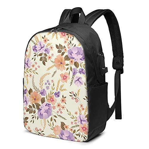 XCNGG Lila große Blume auf hellgelbem Hintergrund-Rucksack, Rucksack mit USB-Ladeanschluss und Kopfhörerkabelanschluss, 17-Zoll-Rucksack