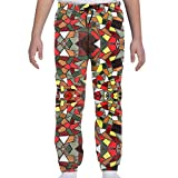 JJCSTE.C Geometric Ceramic Sheet Boys Sweatpants Girls Funny Joggers Sports Pants with Drawstring 10-12 Years White