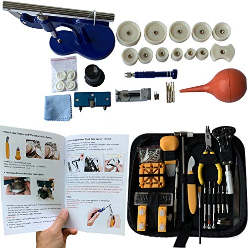 HAOBAIMEI 213 PCS Watch Repair Kit,Watch Battery Replacement Tool Kit with Carrying Case and Instruction Manual,Watch Press Set (large213)