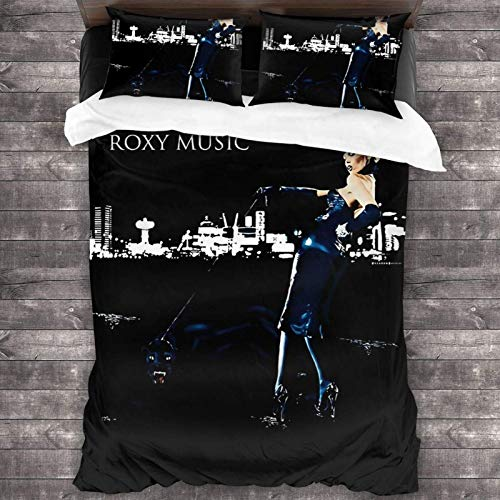 Roxy Music Sticker & Poster Juego de cama de 3 piezas de 2016 x 188 cm, funda de edredón súper suave y cálida, juego de cama Queen con 2 fundas de almohada