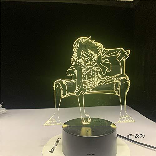 One Piece Luffy Anime 2800 Lampada da tavolo a LED a luce notturna 3D Decorazione per camera da letto per bambini regalo di compleanno