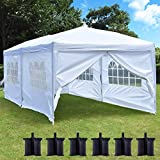 charaHOME 10x20 ft Pop Up Outdoor Canopy Tent,Heavy Duty Easy Up Wedding Party Tent Adjustable Folding Gazebo Pavilion Patio Shelter with 6 Removable Side Walls and 6 Sandbags, White