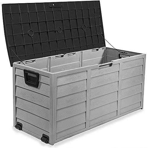 CRZJ Deckboxen, Aufbewahrungsbox aus Kunststoff im Freien, Gartenbänke mit Rädern für Terrassenmöbel Kissen Spielzeug Sportpoolzubehör, 300L,A