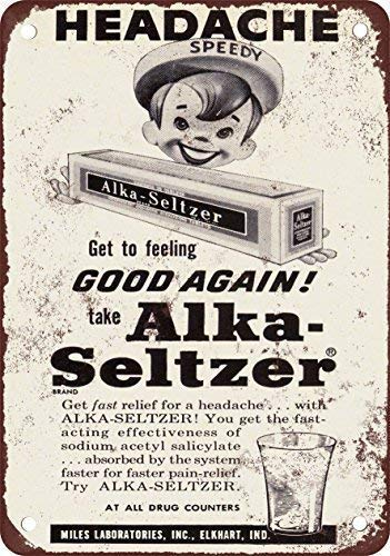 DKISEE Aluminum Safety Sign 1955 Alka-Seltzer Vintage Look Reproduction Durable Rust Proof Warning Sign Aluminum Metal Sign 8