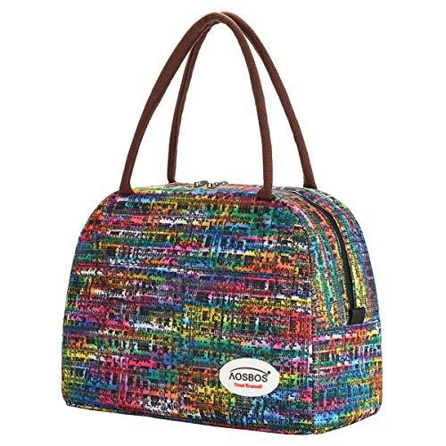 Kühltasche Klein Leicht Lunch Tasche Isoliertasche zur Arbeit Schule Faltbar Wasserdicht Reißverschluss 10L (Mosaik Bunt)
