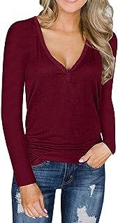 Sherosa Womens Long Sleeve Button Up Tunic Top V Neck Henley Shirts Casual T Shirt Blouse