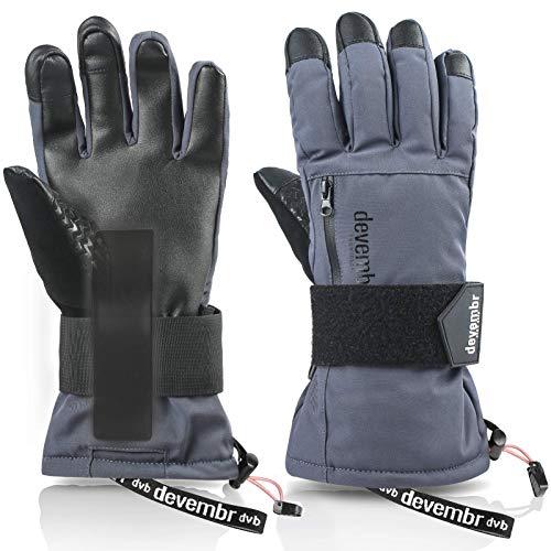 devembr Skihandschuhe Herren & Damen, wasserdichte Snowboard-Handschuhe mit abnehmbaren Handgelenkschutz & 3M Thinsulate Insulation, Schneehandschuhe, Touchscreen, Anti-Rutsch (Grau,M)
