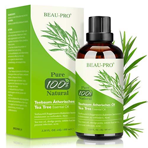 Aceite de Árbol de Té 100% Natural,100 ML Aceite Esenciale-Aceite de Acné,Tea Tree Oil Puro,Aceite Perfumado de Árbol de Té,Tratamiento Antiacné Contra la Piel y Cara con Imperfecciones,Antipinillas