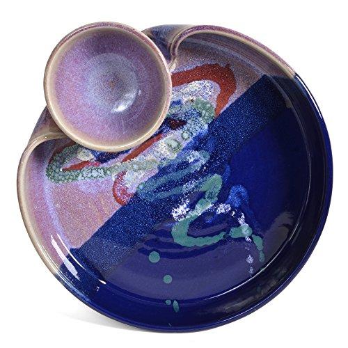 Larrabee Ceramics 8 onzas de Salsa Cuenco con Pico Malva/Cobalt