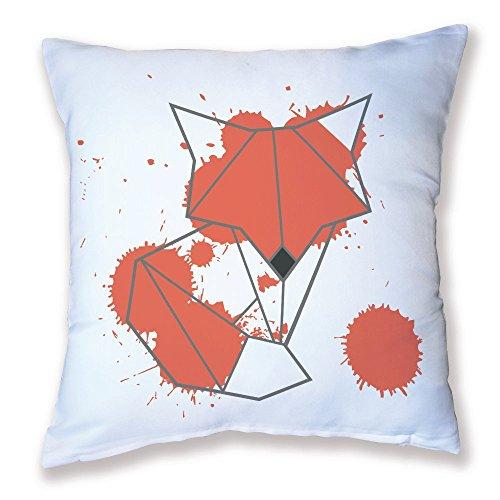 Coussin Décoration Origami Renard orange kawaii - Fabriqué en France - Licence officelle Chamalow Shop