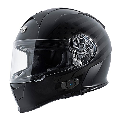 Torc T14B Blinc Loaded Flag Mako Full Face Helmet (Flat Black, Medium)
