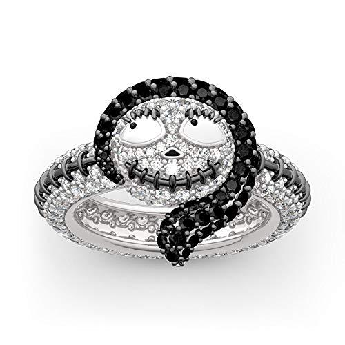Jeulia Anillo de plata de ley 925 con diamantes de Sally de la pesadilla antes de Navidad, para boda, compromiso, aniversario plateado