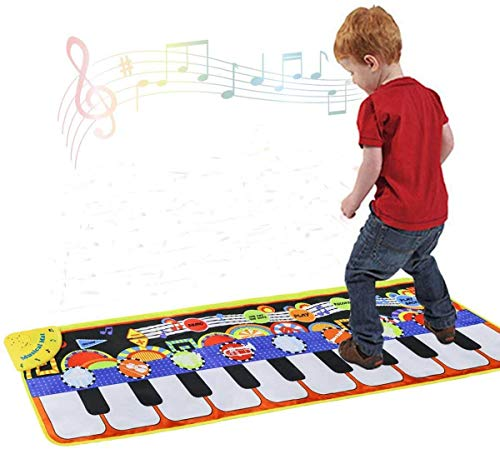TIMESETL Piano Music Mat, 19 Keys Piano Keyboard Play Mat Portable Musical Dance Blanket with 8 Musical Instruments Build-in Speaker & Recording Function Early Education Music Toy for Baby Girls Boys