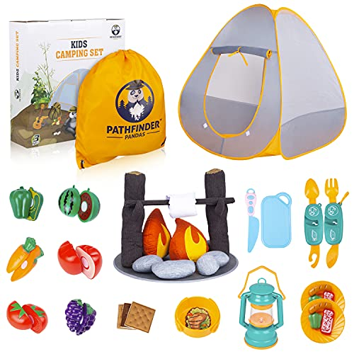 Kids Camping Toys with Pop Up Play Tent & Toy Campfire Set | Kids Camping Gear with Pretend Food, Lantern, Marshmallow, Crackers & More | Boys & Girls Indoor Outdoor Pretend Play Set