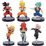 No WEIbeta 6 Unids/Set Tamaño Grande Dragon Ball Z Rosa Goku Gogeta Vegeta Super Saiya King Fist Q Ver. Figura de acción DBZ PVC Modelo 10-12cm
