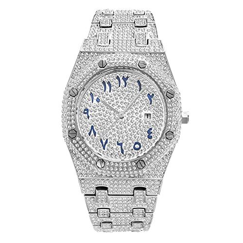 Fantex Elegante brazalete de reloj de cuarzo helado, esfera de visualización de calendario de diamantes CZ brillante, chapado en oro joyería de hip hop para hombres