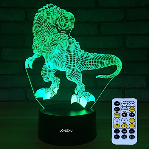 LONGXU Dinosaur Toys 3D Night Light for Boys with Timer Remote & Smart Touch 7 Colors Changing Dimmable TRex Toy 1 2 3 4 5 6 7 8 9 10 Year Old Boy Gifts (Dinosaur)
