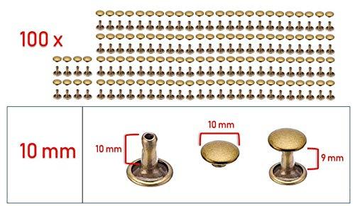 My Belt - 100 Stück Hohlnieten für Leder, Ledernieten 10mm Altmessing, Doppelkappe Nieten, Gürtelnieten Kappe Bronze