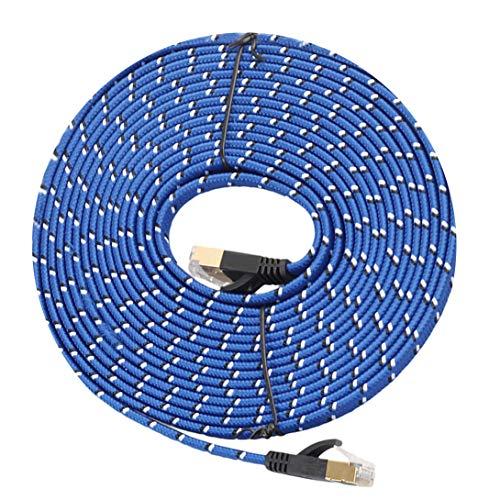 LYYCEU Reforzado con Conector RJ45 blindado, Cable DE 10M Amber Cat-7 10 GIGABIT ETHERNET Ultra Prostate Cable de conexión para el enrutador de módem Red LAN