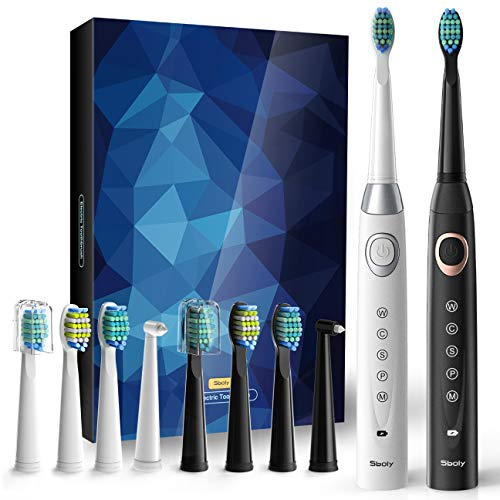2 Sonic Electric Toothbrushes 5 Modes 8 Brush heads USB Fast Charge Powered Toothbrush Last for 30 Days Builtin Smart Timer Rechargeable Toothbrushes for Adults and Kids 1 Black And 1 White