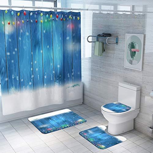 DKEE Anti-slip mats for bathrooms Die Wasseraufnahme Ist Nicht Verblasst Vielseitig Weihnachtsschneeflockemuster Polyester Duschvorhang Matten Bad Klobrille Vier Teppichmatten Maschinenwaschbar Und Ko