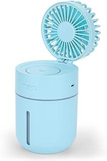 USB Foldable Desk Fan Humidifying Desktop Fan 180 ° Adjustment with Colorful Gradient Lights and 7 Fan Blades 3 Speeds Per...