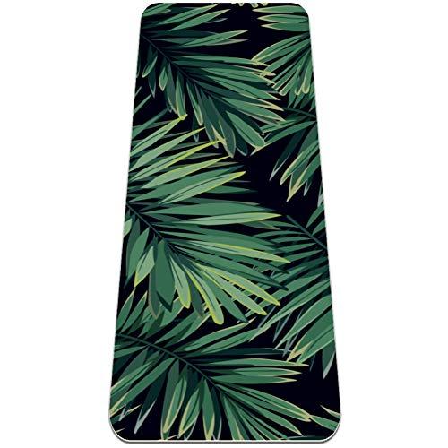 Planta Verde Tropical Esterilla de Yoga TPE Lindo tapete Antideslizante para el Suelo con Bolsa para Mujeres Hombres niños Adultos 183x61cmx0.6cm