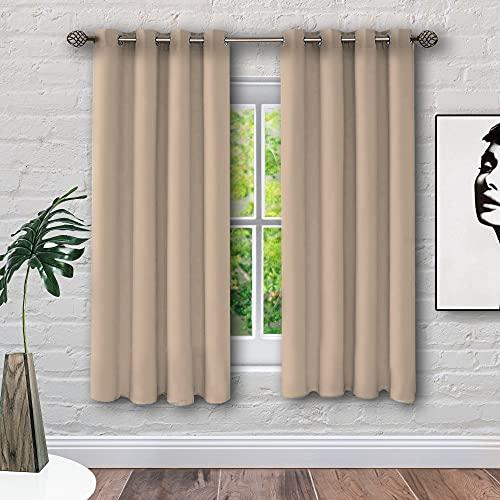 Cortinas térmicas Opacas aislantes de frío y Calor Ideal para habitación o salón. Dos Unidades de 117 x 138 centímetros Cada uno. Beige. EVERHEN HOME