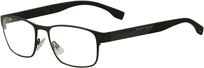 Hugo Boss Eyeglasses 0881 KCQ Black/Carbon Fiber Rectangle Optical Frame 56mm