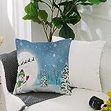 Fundas Cojines de Poliéster -50x50cm,Decoraciones navideñas, muñeco de nieve alegre bajo la luna lle,Fundas de Almohada Decoración con Cremallera Invisible para Sala de Estar, sofá, Dormitorio o Coche