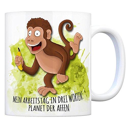 trendaffe - Kaffeebecher mit AFFE Motiv und Spruch: Mein Arbeitstag in DREI Worten: Planet der Affen