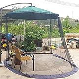 DINHAND Black 7.5-11ft Outdoor Patio Table Umbrella Mosquito Netting, Double Zipper Doors, Canopy Umbrella Net Offset Hanging Market Umbrellas w/Tilt Screen Mesh, Balcony Umbrella Cover