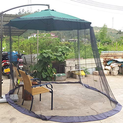 DINHAND 7.5''-11'' Black Patio Umbrella Outdoor Table Bug Screen Mesh Mosquito Net Canopy Curtains Adjustable Enclosure Large Umbrella Hanging Tent Polyester Mosquito Netting with Double Zipper Doors