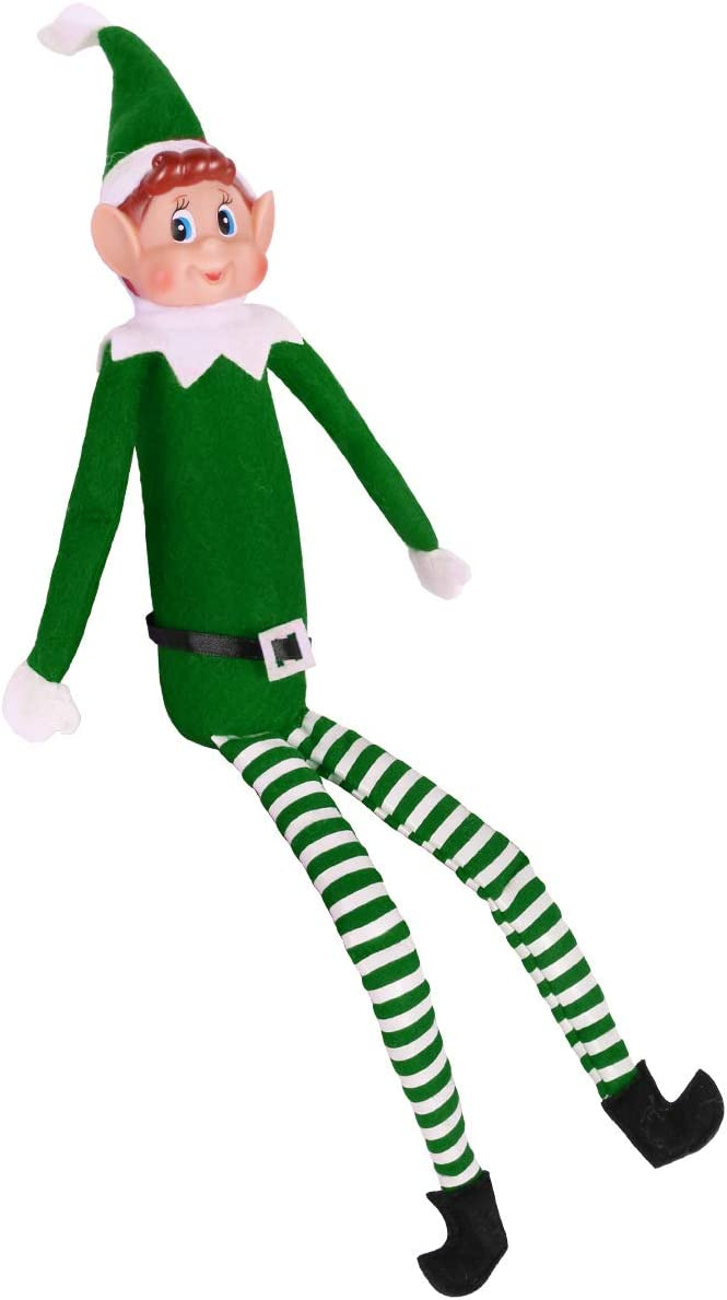 Yoodelife 12'' Long Leg Soft Body Vinyl Face Plush Dolls Elf with Hat & Tag Ornaments for Holiday St. Patrick 's Day Decoration Gift, Green