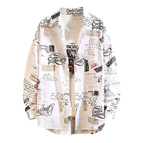 Camicia da Uomo Manica Lunga Nuova Primavera Moda Top Grande Stampato Confortevole (4XL,3Bianca)