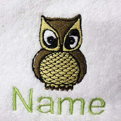 Weiß Baby Bademantel mit Kapuze oder weiß Kapuzentuch mit Ein wenig Eule Logo und Namen Ihrer Wahl., 100 % Terry-Baumwolle, weiß, Baby Robe 0-9 months