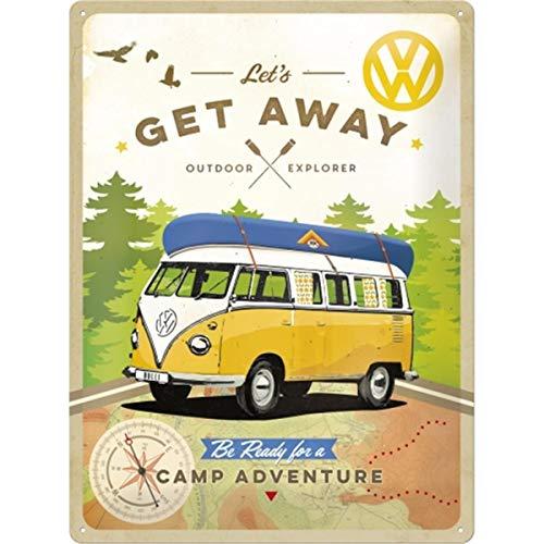 Nostalgic-Art Volkswagen Retro Bulli T1-Let's Get Away, Blechschild VW Bus Geschenk-Idee, Metall, Vintage-Design zur Dekoration, 30 x 40 cm